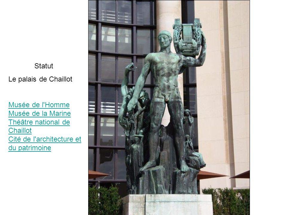 Statut Le palais de Chaillot.