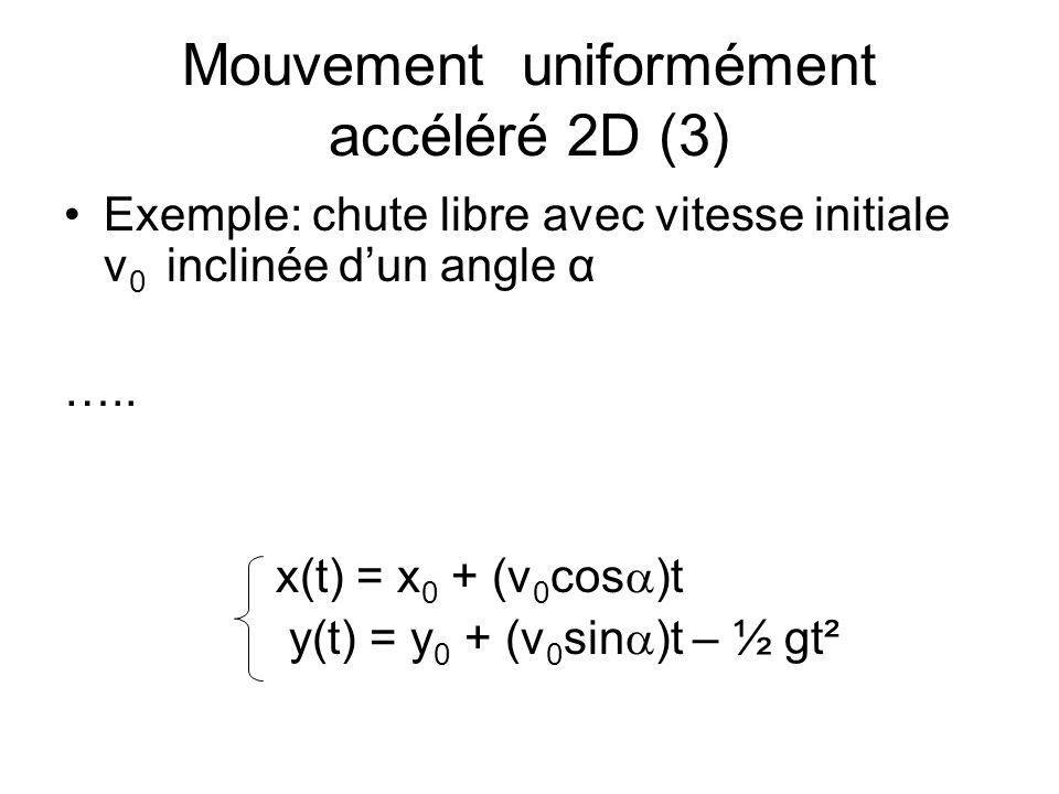 Mouvement uniformément accéléré 2D (3)