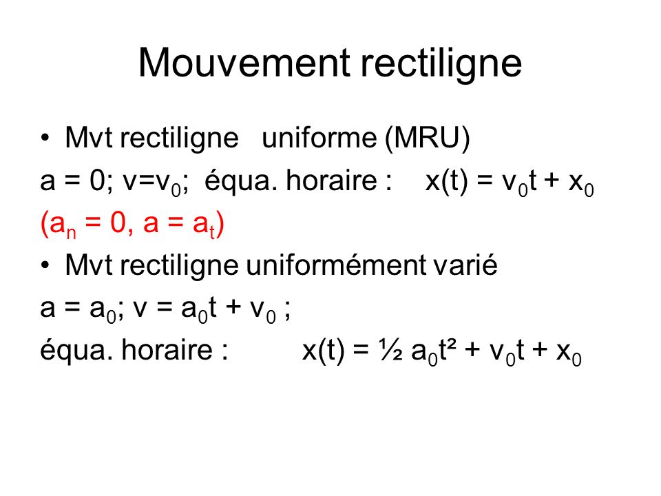 Mouvement rectiligne Mvt rectiligne uniforme (MRU)