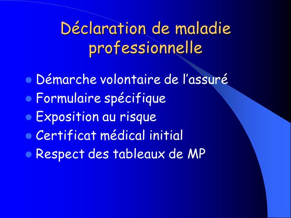 Déclaration de maladie professionnelle