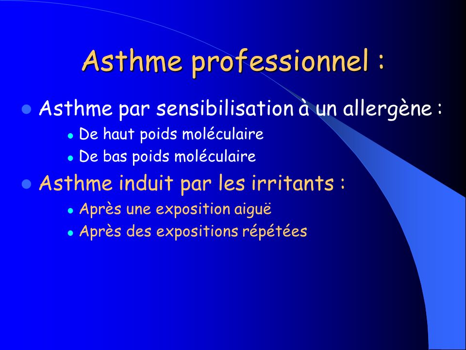 Asthme professionnel :