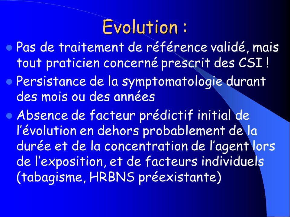 Evolution : Pas de traitement de référence validé, mais tout praticien concerné prescrit des CSI !