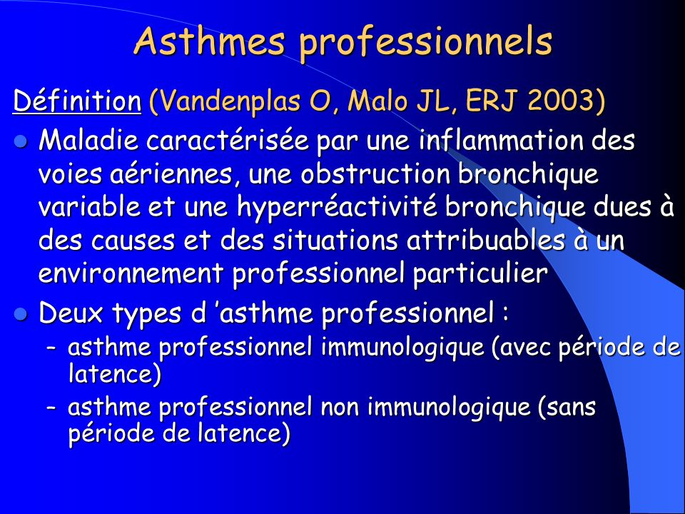 Asthmes professionnels