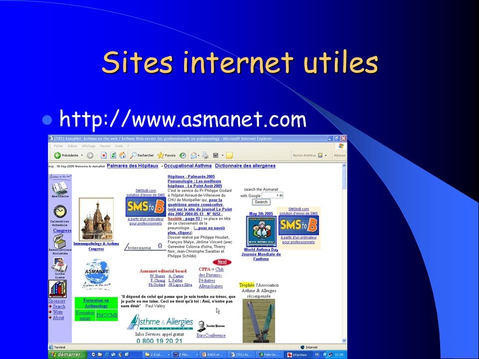 Sites internet utiles http://www.asmanet.com