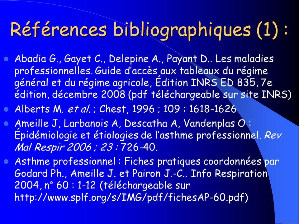 Références bibliographiques (1) :
