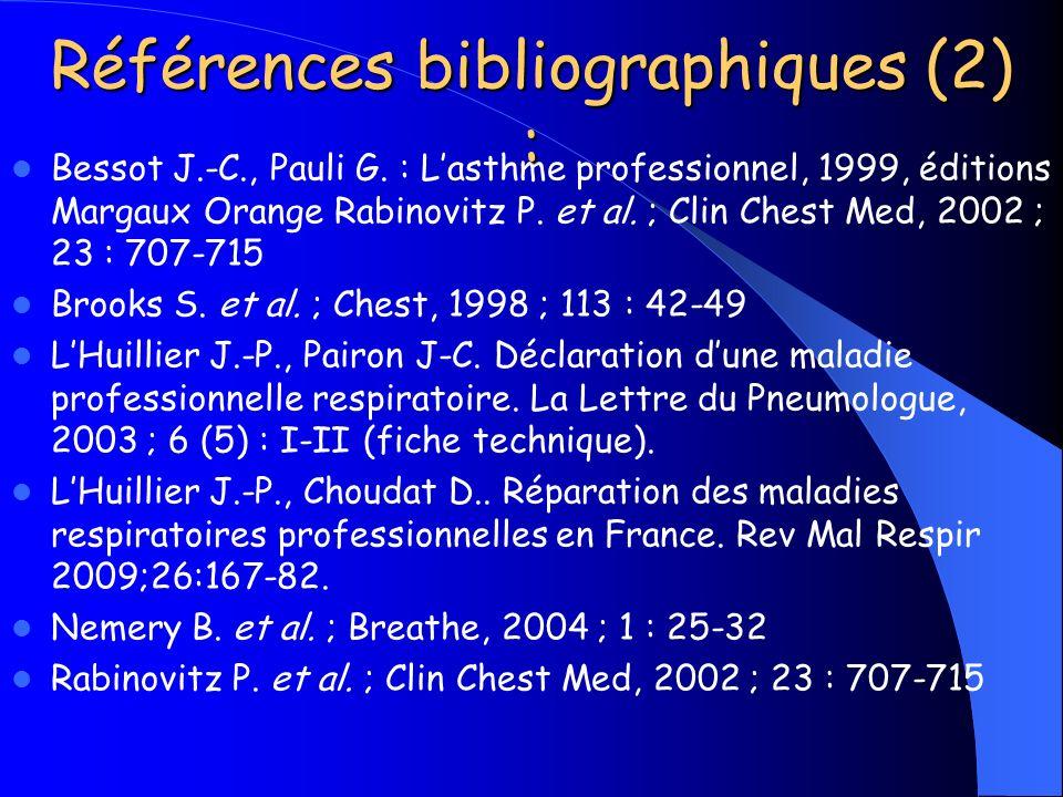 Références bibliographiques (2) :