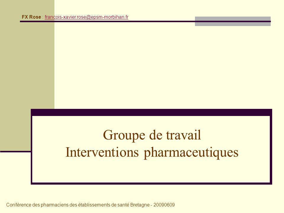 Groupe de travail Interventions pharmaceutiques