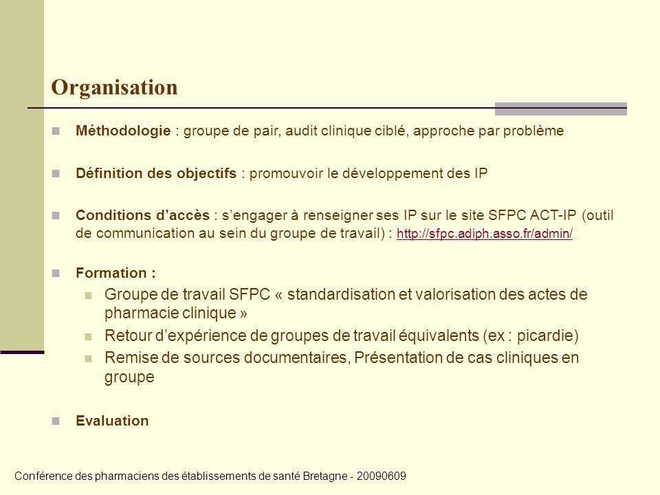 Organisation Méthodologie : groupe de pair, audit clinique ciblé, approche par problème.