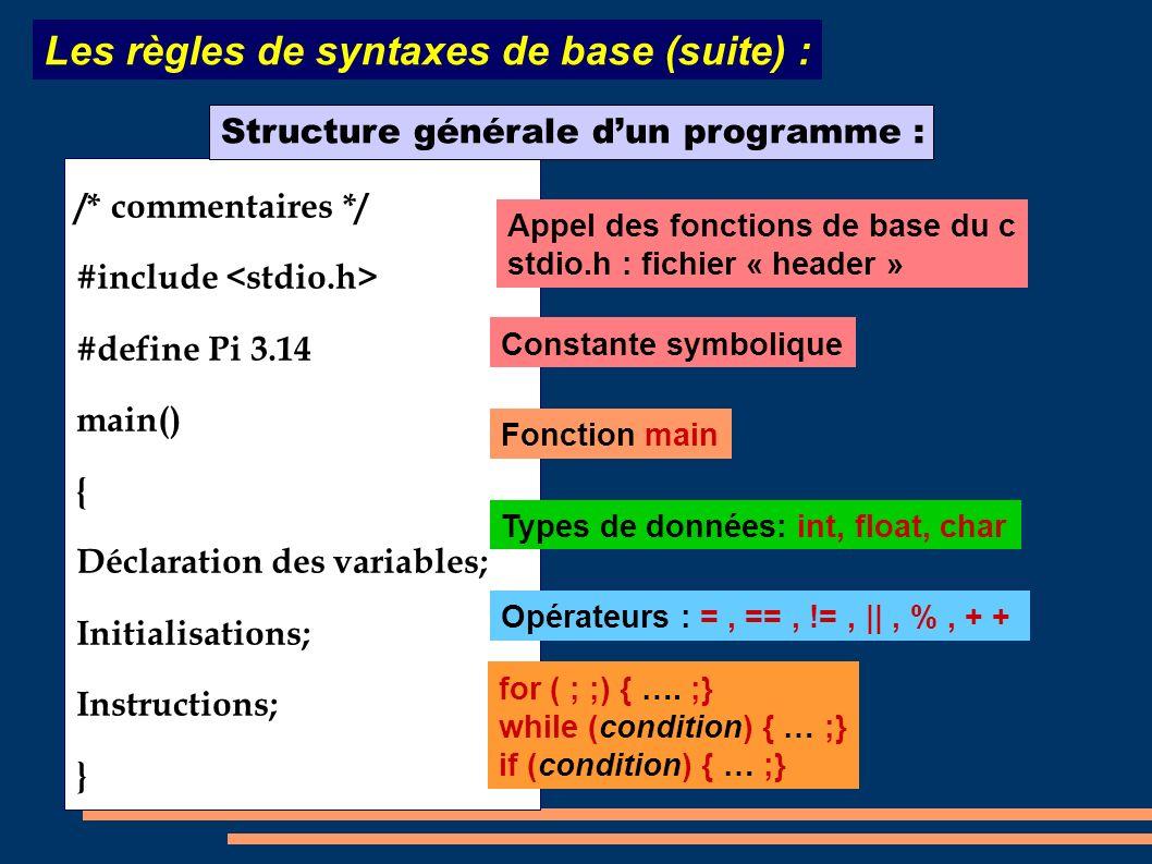 Les règles de syntaxes de base (suite) :