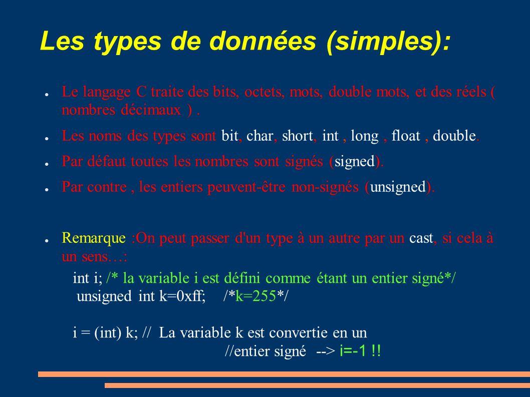 Les types de données (simples):