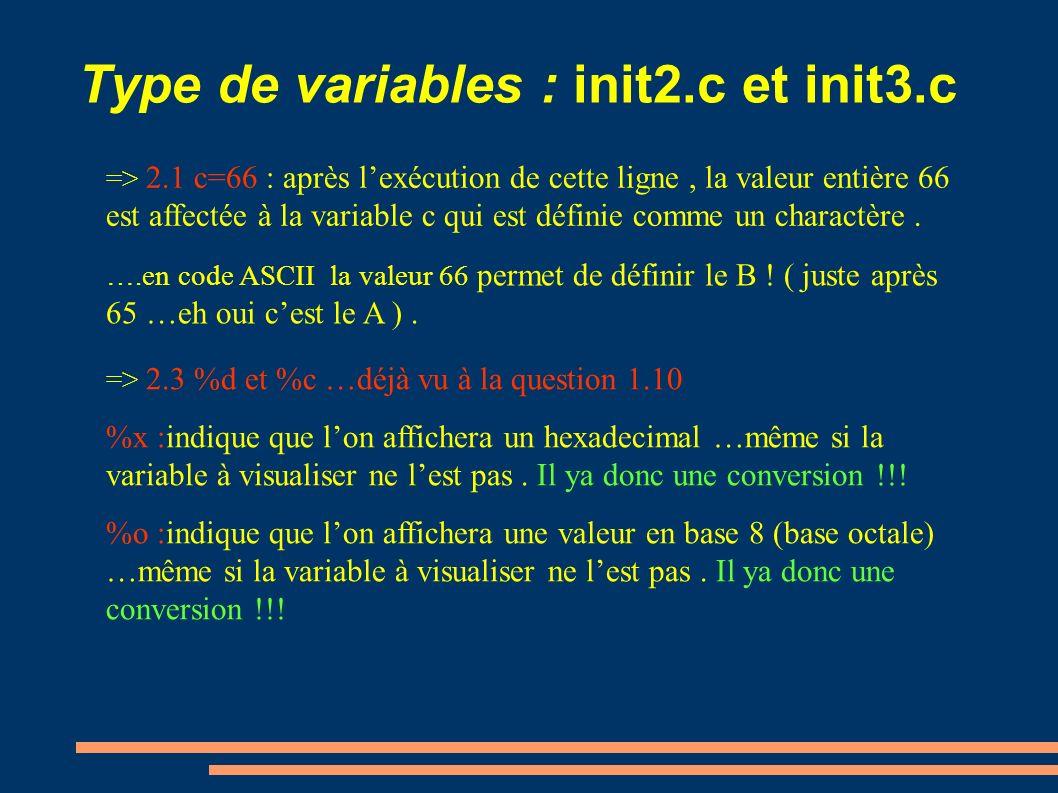 Type de variables : init2.c et init3.c