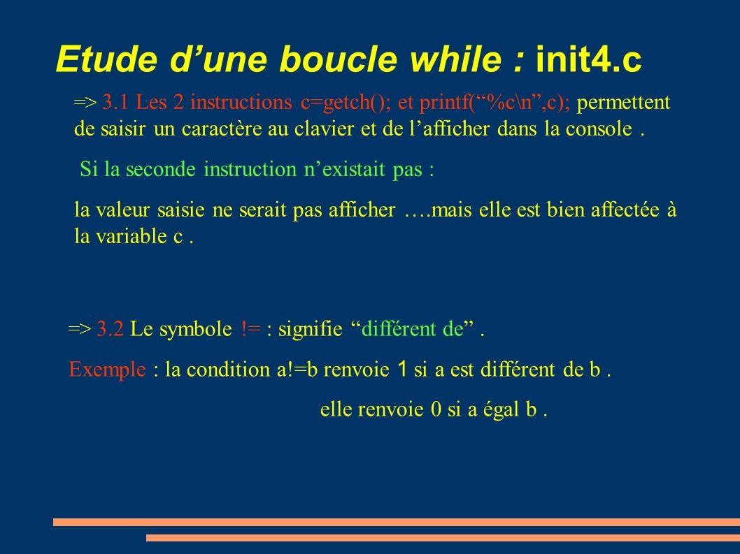 Etude d'une boucle while : init4.c