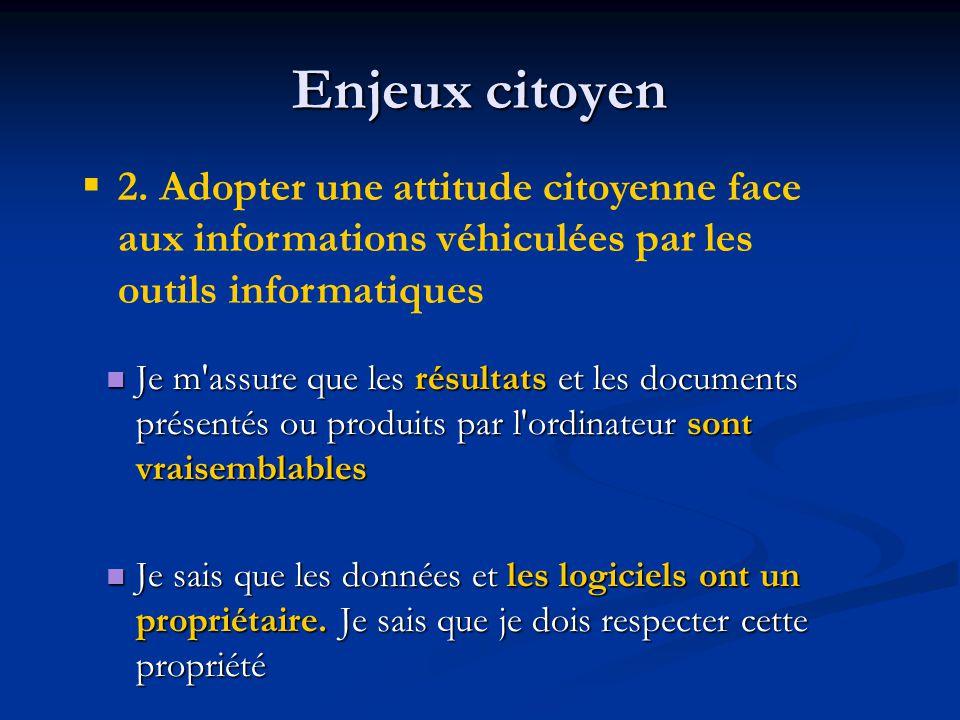 Enjeux citoyen 2. Adopter une attitude citoyenne face aux informations véhiculées par les outils informatiques.