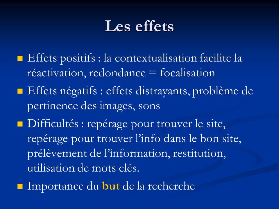 Les effets Effets positifs : la contextualisation facilite la réactivation, redondance = focalisation.