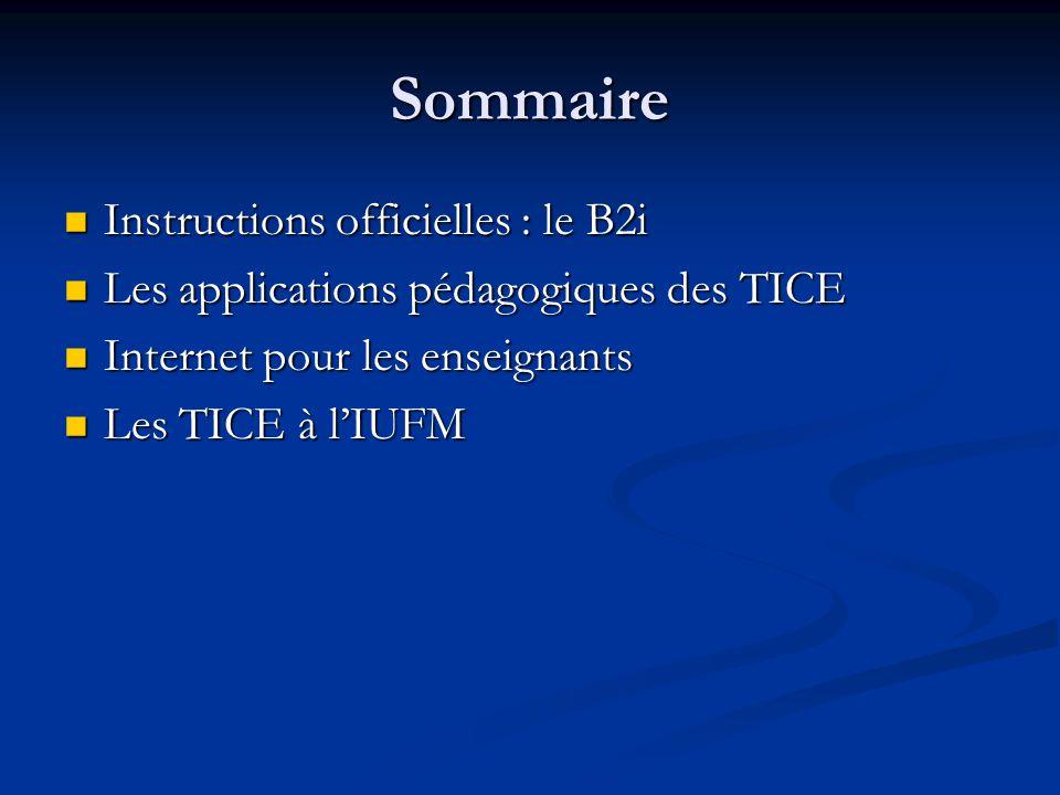 Sommaire Instructions officielles : le B2i