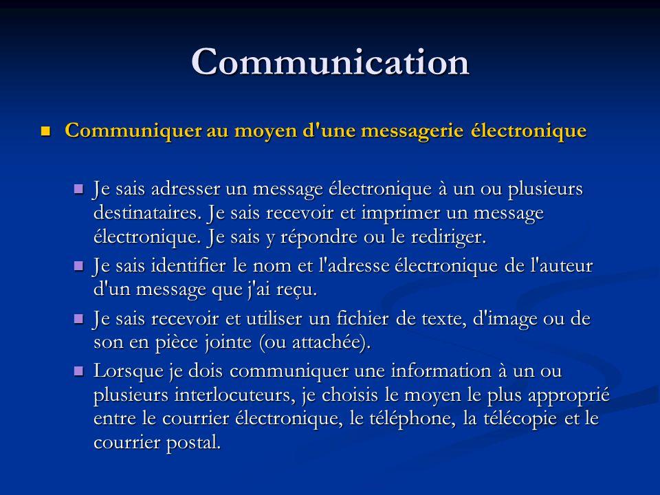 Communication Communiquer au moyen d une messagerie électronique