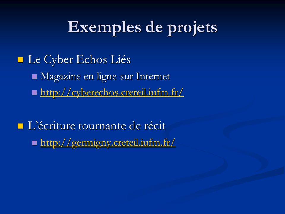 Exemples de projets Le Cyber Echos Liés L'écriture tournante de récit