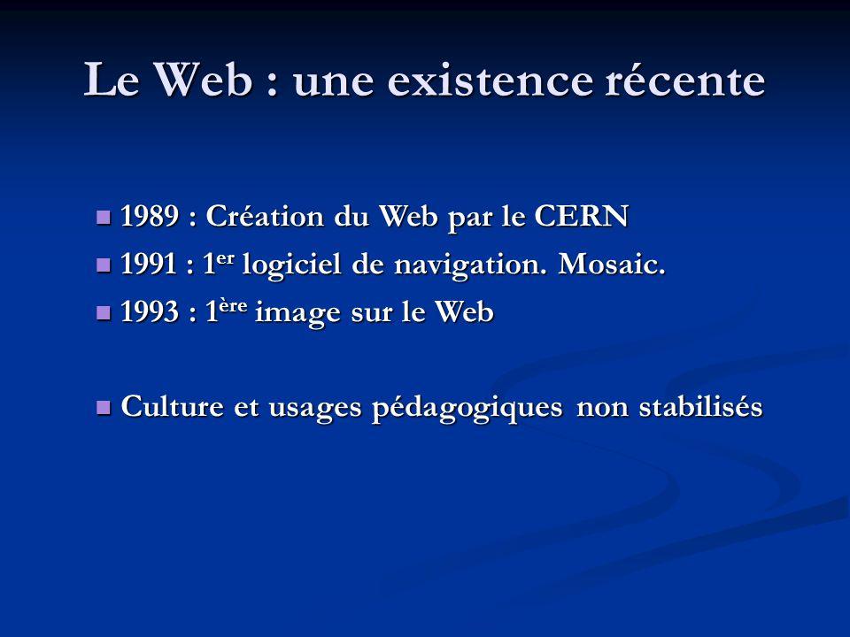 Le Web : une existence récente