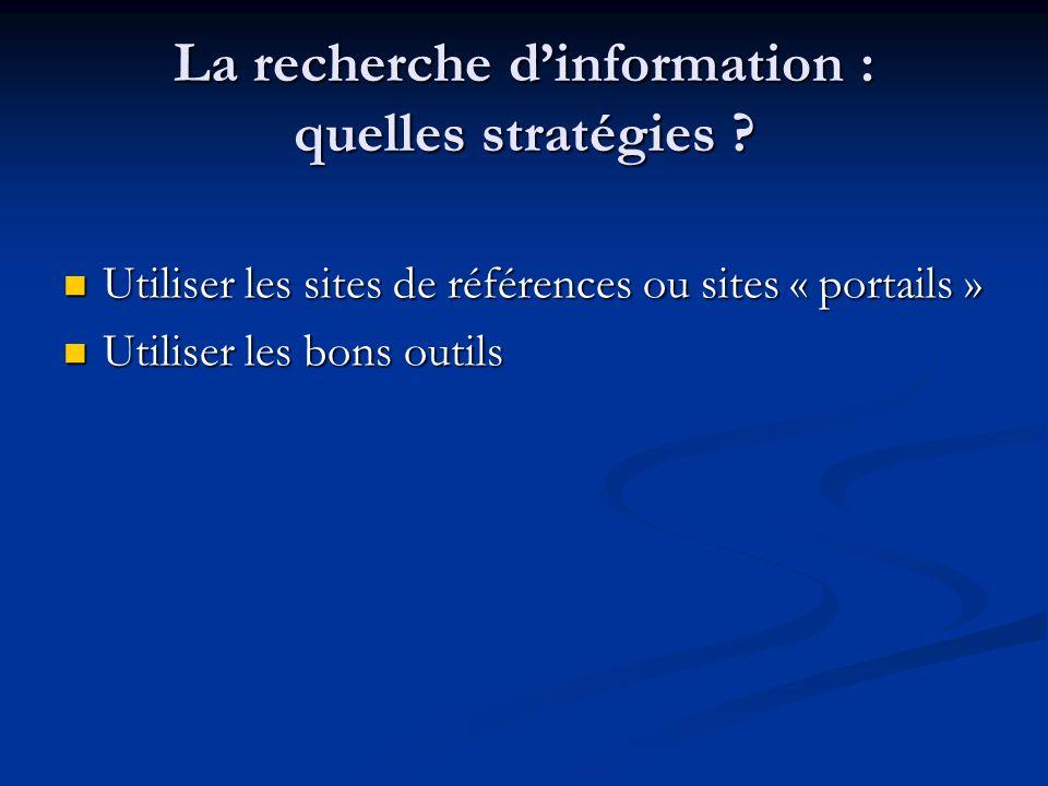 La recherche d'information : quelles stratégies