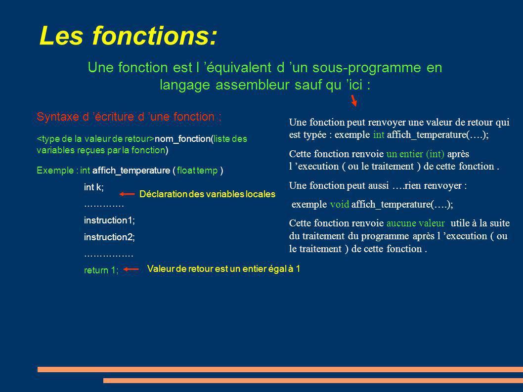 Les fonctions: Une fonction est l 'équivalent d 'un sous-programme en langage assembleur sauf qu 'ici :