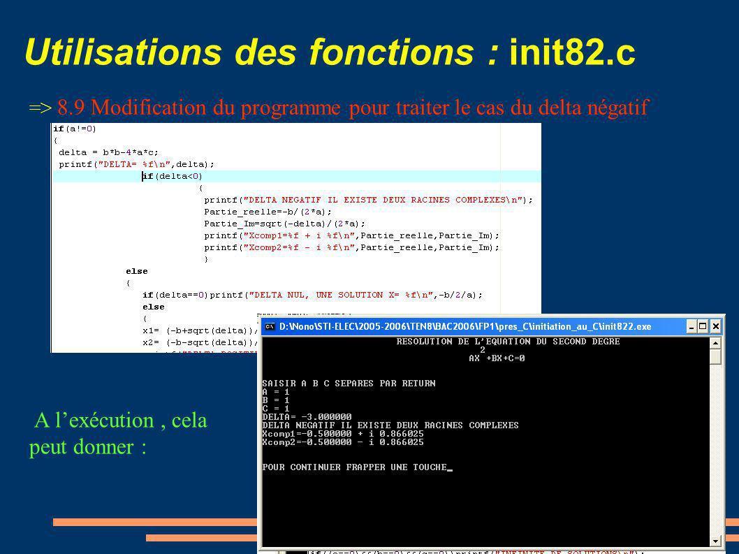 Utilisations des fonctions : init82.c