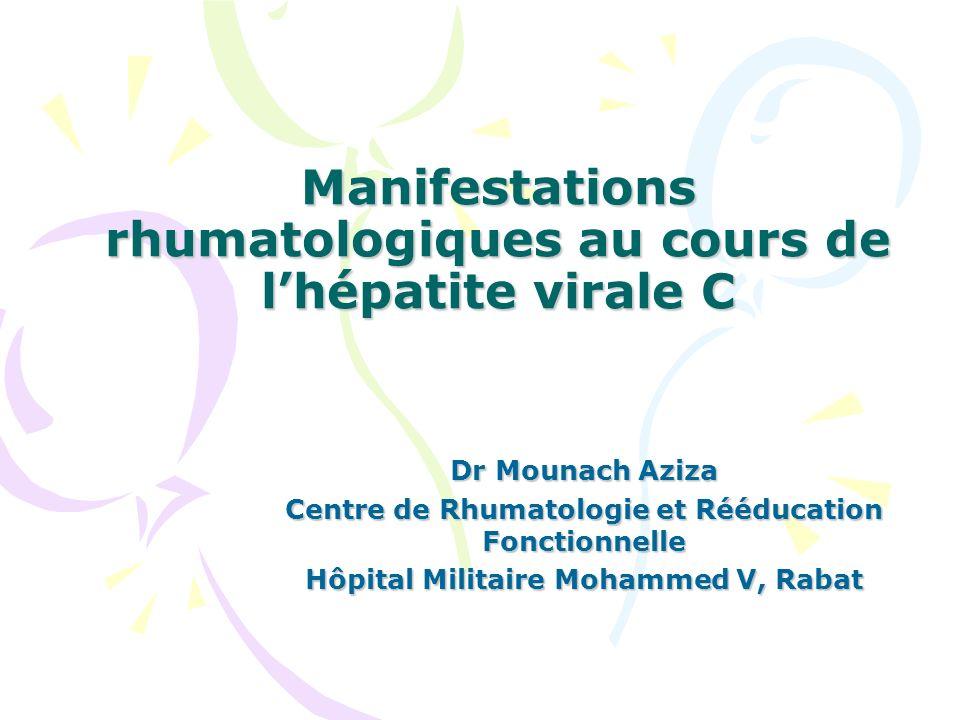 Manifestations rhumatologiques au cours de l'hépatite virale C