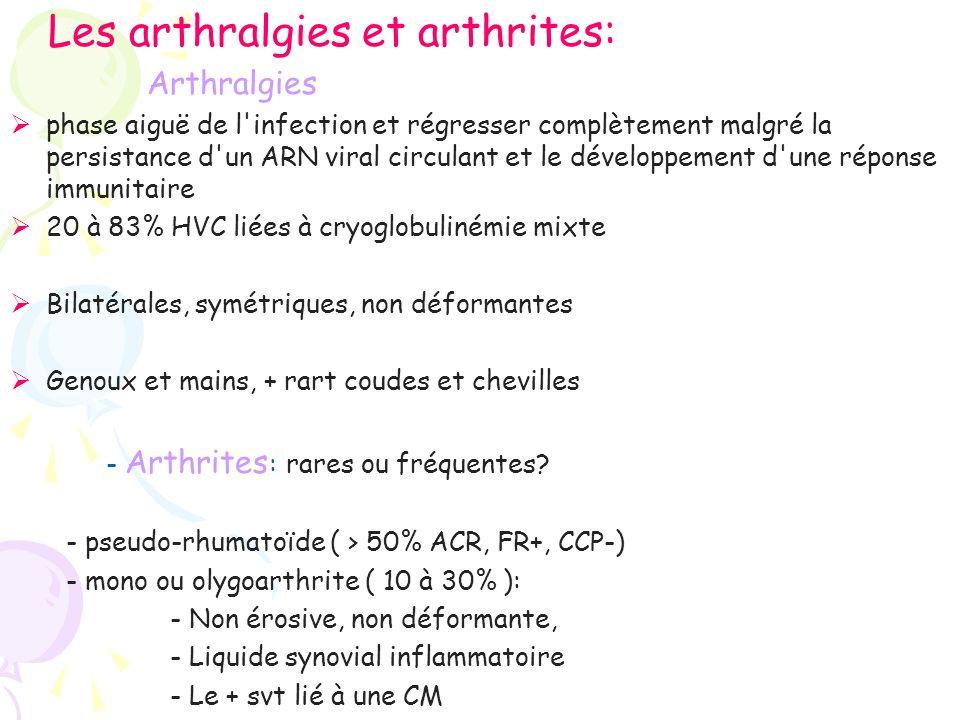Les arthralgies et arthrites: