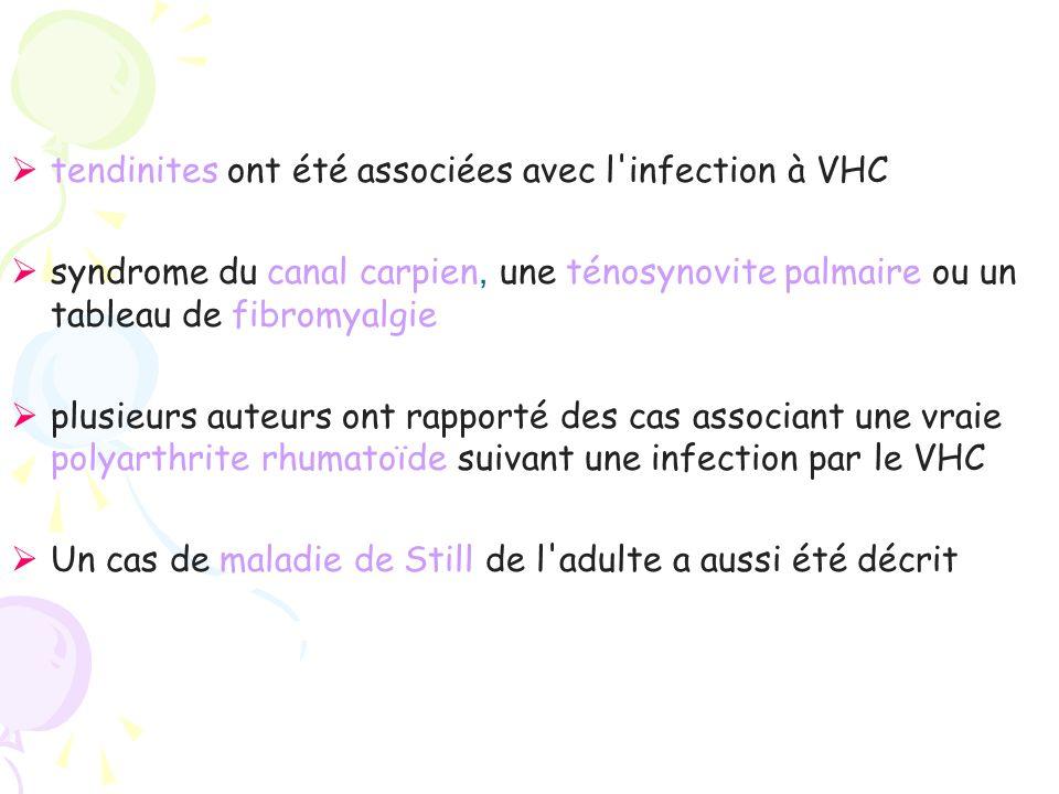 tendinites ont été associées avec l infection à VHC