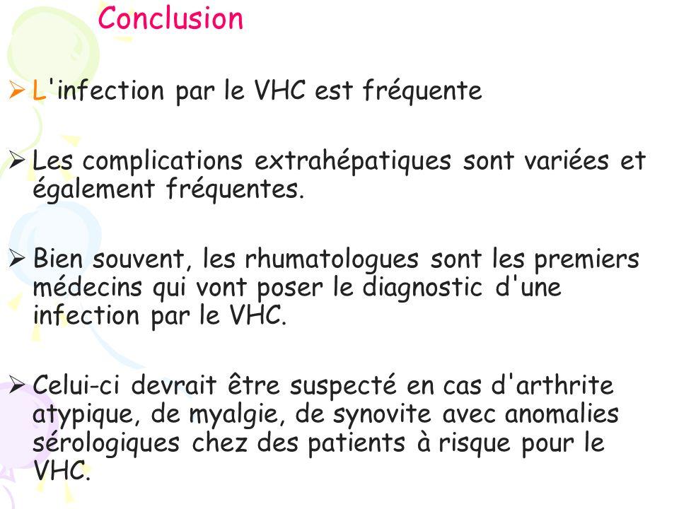 Conclusion L infection par le VHC est fréquente