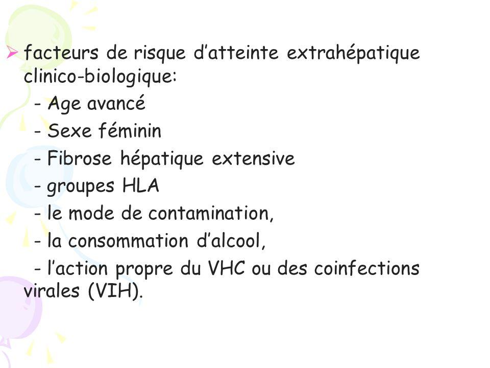 facteurs de risque d'atteinte extrahépatique clinico-biologique: