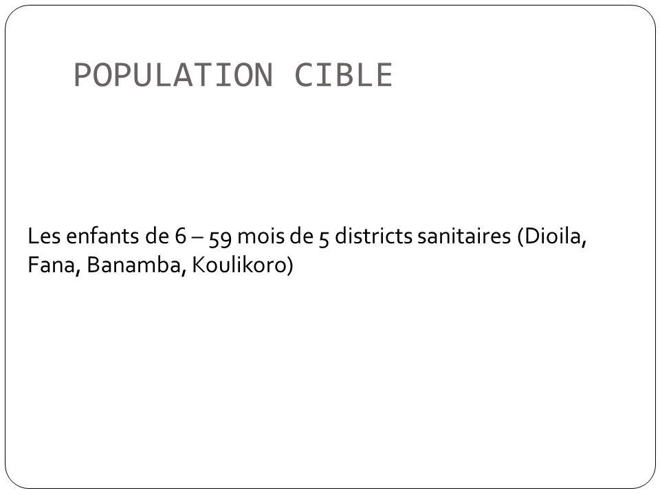 POPULATION CIBLE Les enfants de 6 – 59 mois de 5 districts sanitaires (Dioila, Fana, Banamba, Koulikoro)