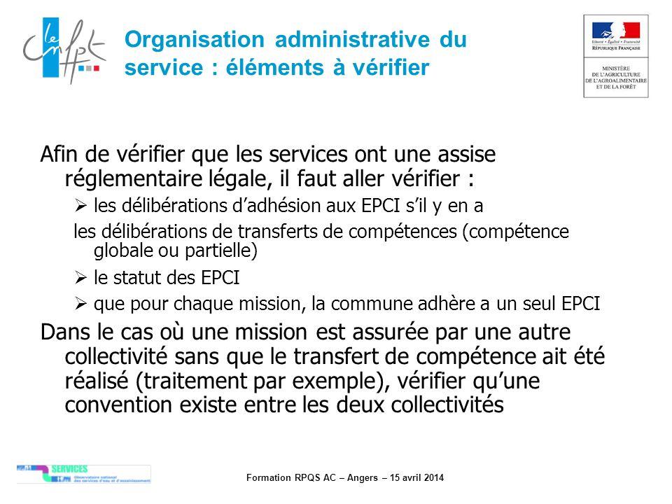 Organisation administrative du service : éléments à vérifier