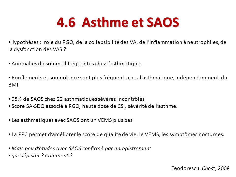 4.6 Asthme et SAOS Hypothèses : rôle du RGO, de la collapsibilité des VA, de l'inflammation à neutrophiles, de la dysfonction des VAS