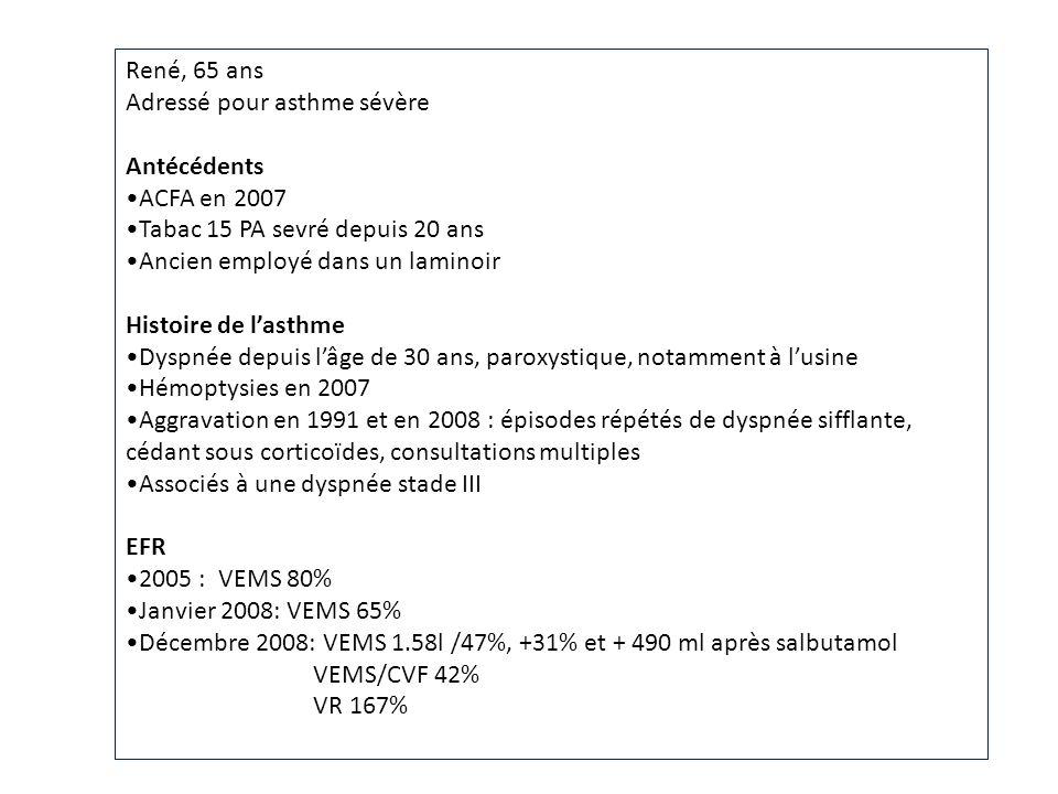 René, 65 ans Adressé pour asthme sévère. Antécédents. ACFA en 2007. Tabac 15 PA sevré depuis 20 ans.