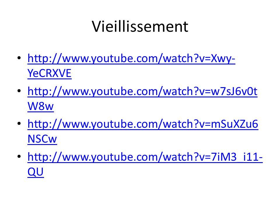 Vieillissement http://www.youtube.com/watch v=Xwy-YeCRXVE