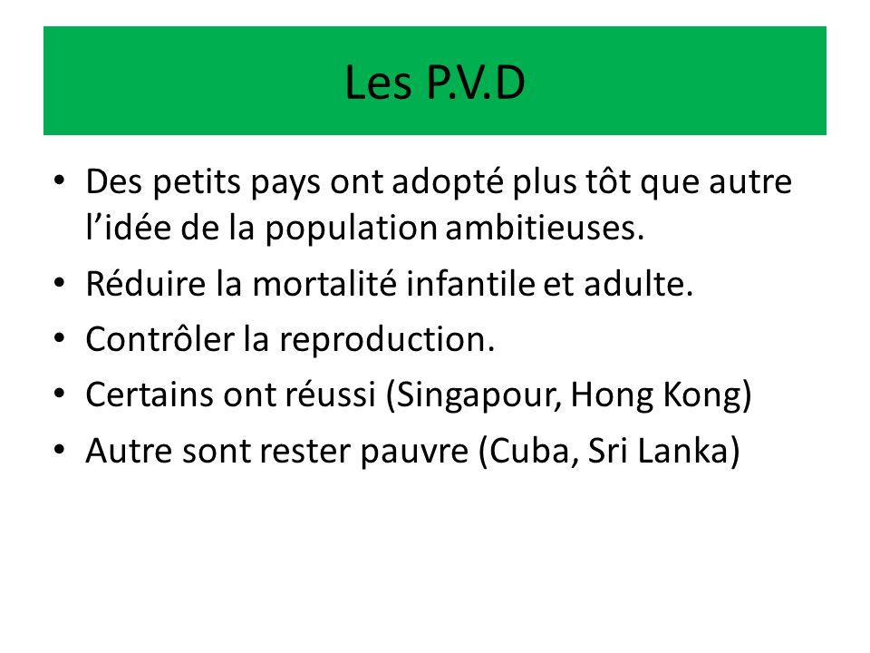 Les P.V.D Des petits pays ont adopté plus tôt que autre l'idée de la population ambitieuses. Réduire la mortalité infantile et adulte.