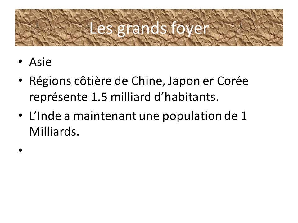 Les grands foyer Asie. Régions côtière de Chine, Japon er Corée représente 1.5 milliard d'habitants.