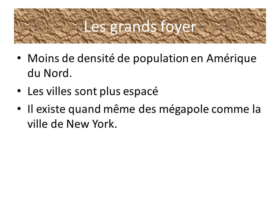 Les grands foyer Moins de densité de population en Amérique du Nord.