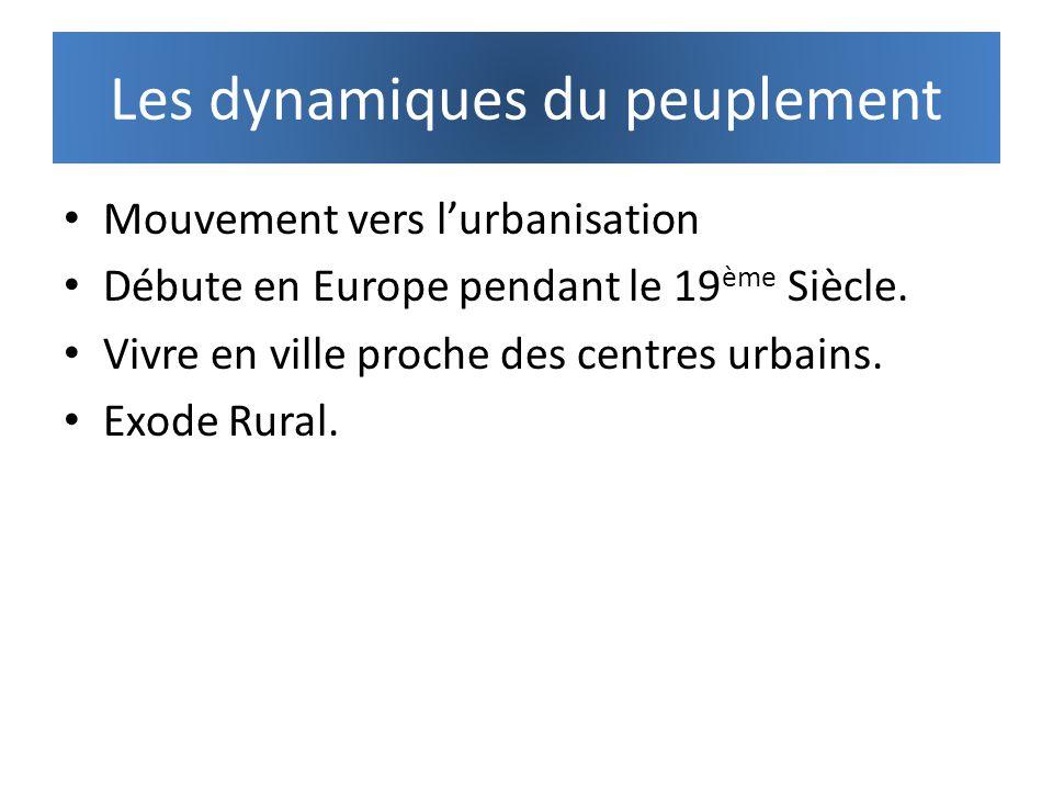 Les dynamiques du peuplement