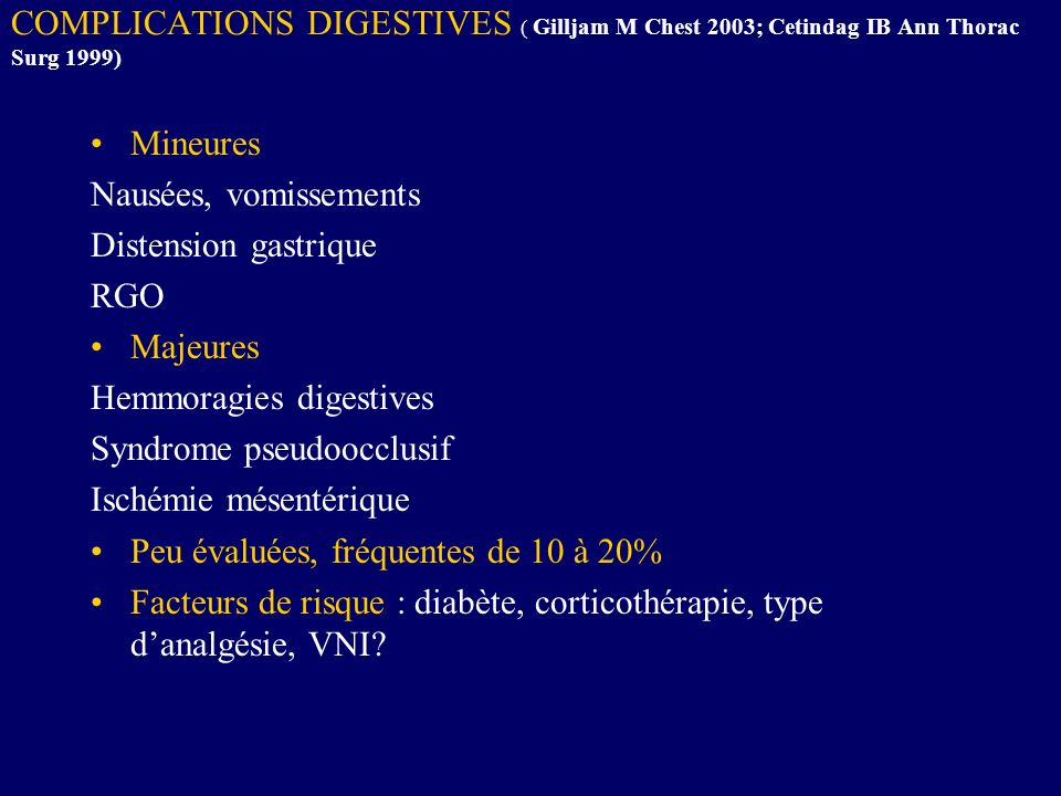 COMPLICATIONS DIGESTIVES ( Gilljam M Chest 2003; Cetindag IB Ann Thorac Surg 1999)