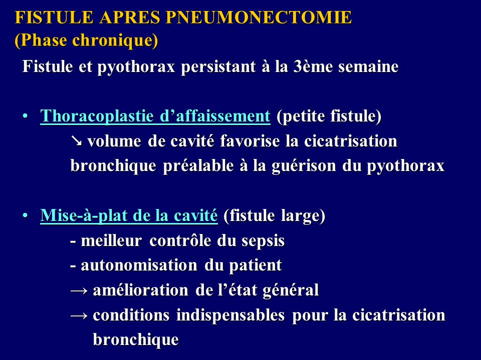 FISTULE APRES PNEUMONECTOMIE (Phase chronique)