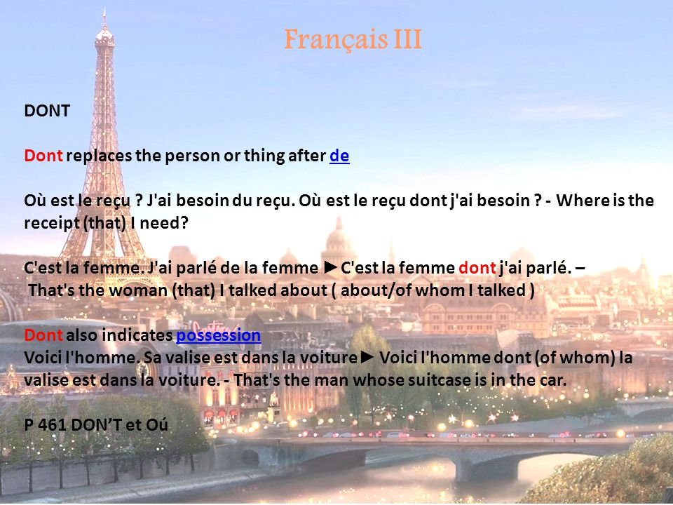 Français III DONT Dont replaces the person or thing after de