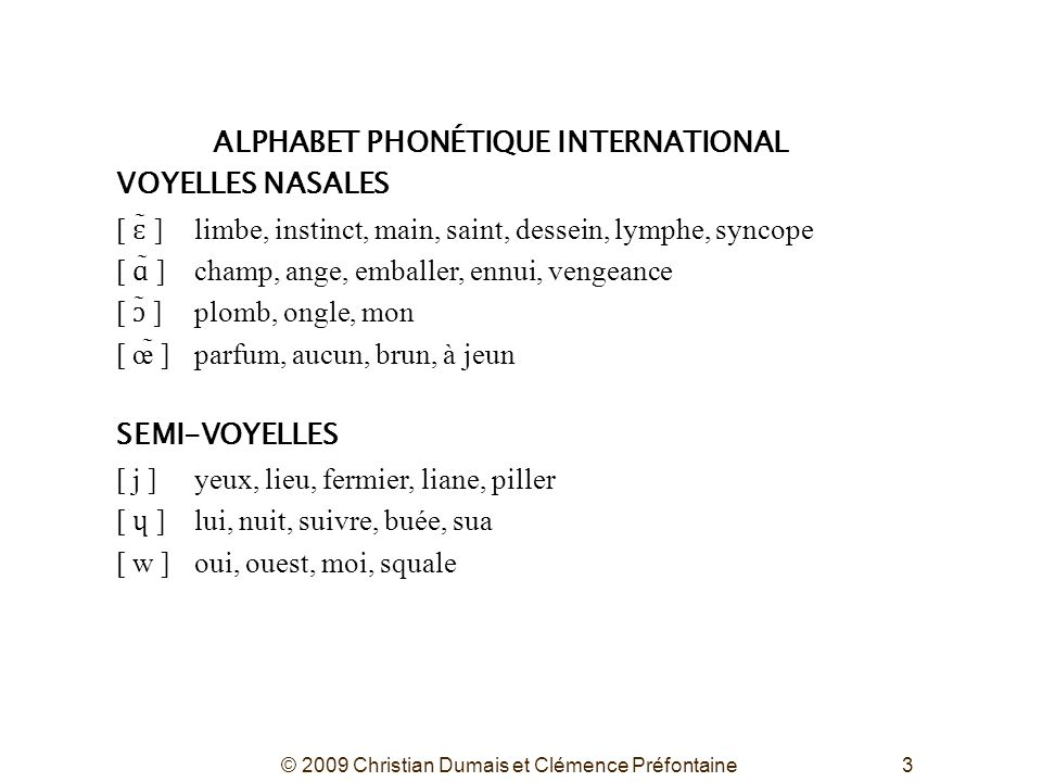 ALPHABET PHONÉTIQUE INTERNATIONAL