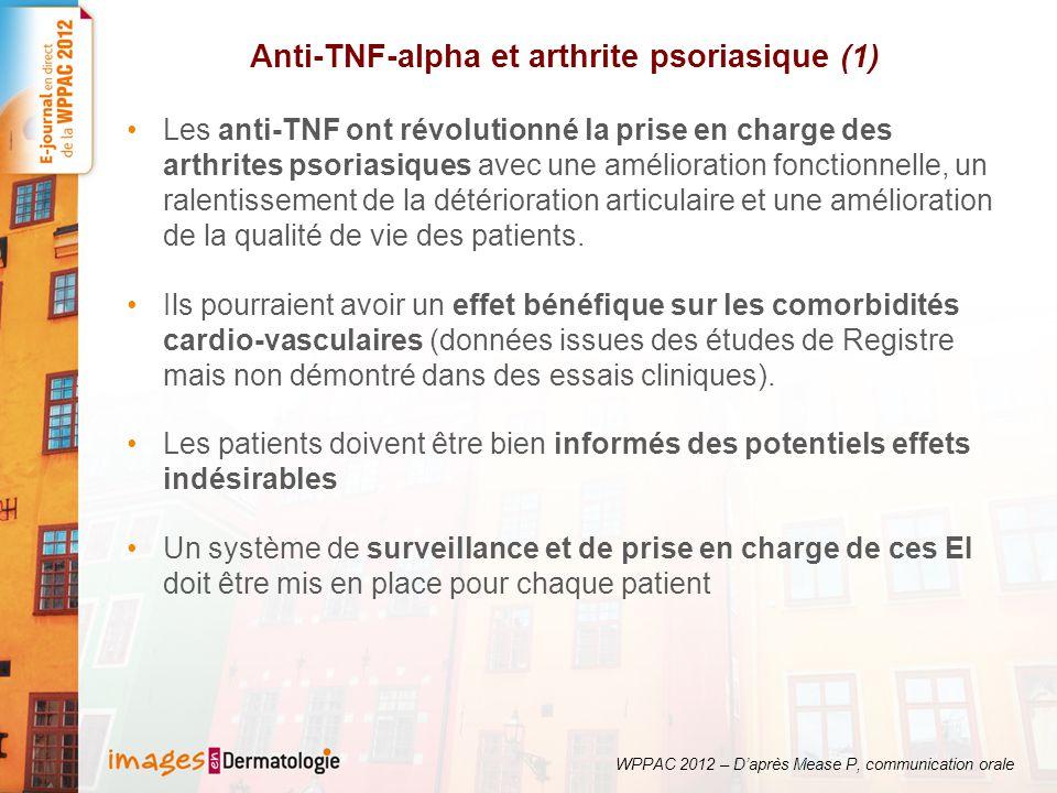 Anti-TNF-alpha et arthrite psoriasique (1)