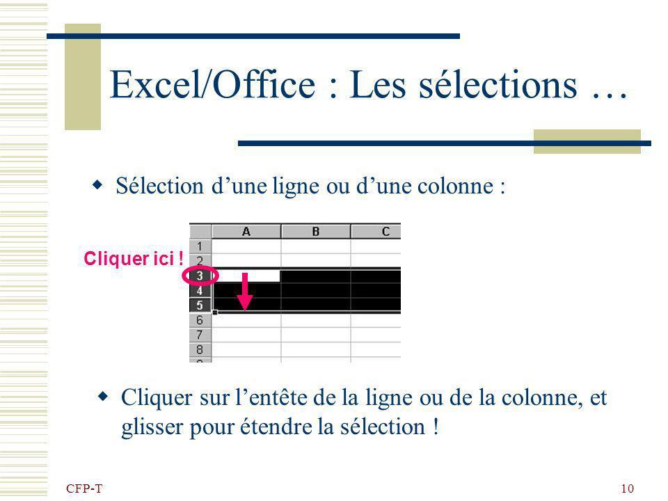 Excel/Office : Les sélections …