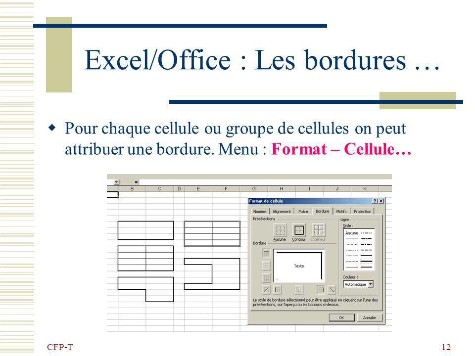 Excel/Office : Les bordures …