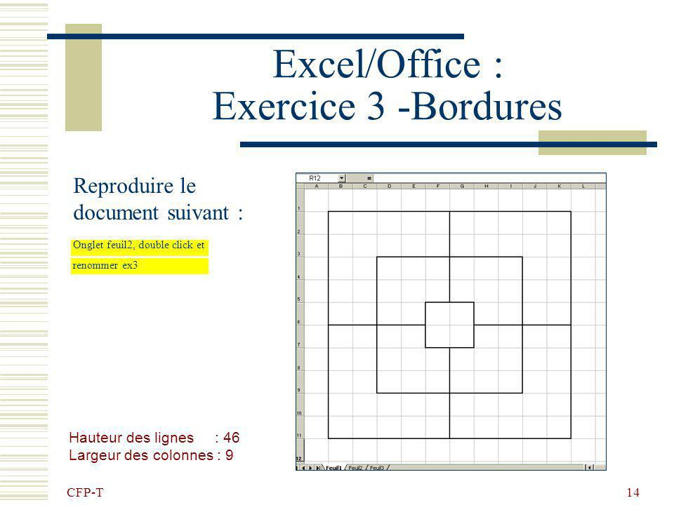 Excel/Office : Exercice 3 -Bordures