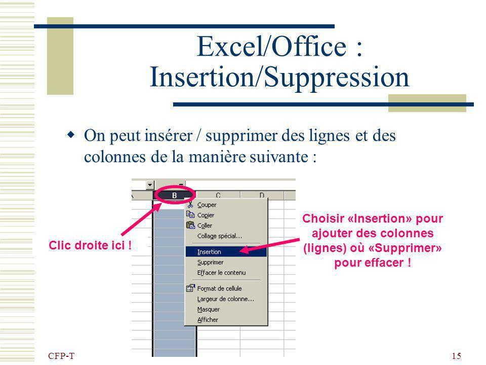 Excel/Office : Insertion/Suppression