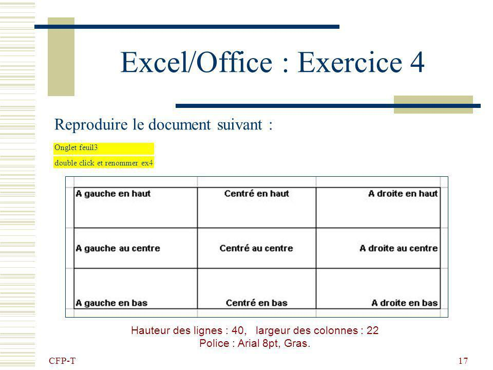 Excel/Office : Exercice 4