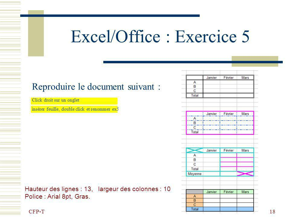 Excel/Office : Exercice 5